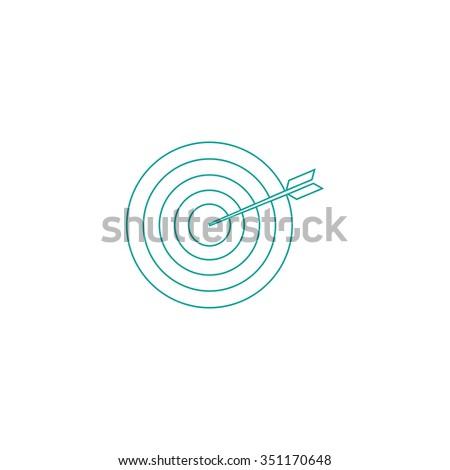 bullseye Outline vector icon on white. Line symbol pictogram  - stock vector