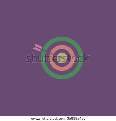 bullseye Retro dim color vector flat icon - stock vector