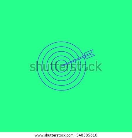 bullseye Simple outline vector icon on green background  - stock vector