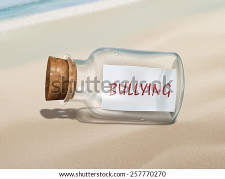 bullying message in a bottle isolated on beautiful beach - stock vector