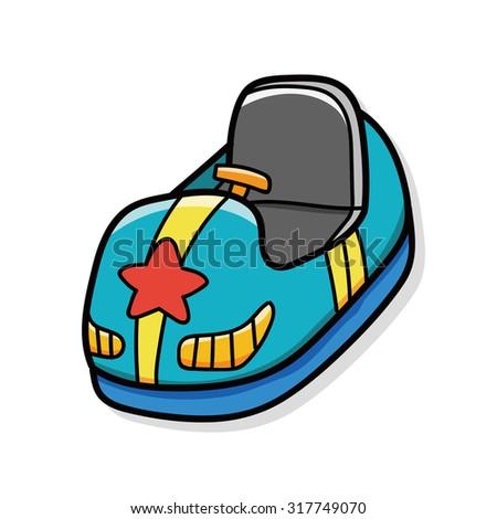 Bumper car doodle - stock vector
