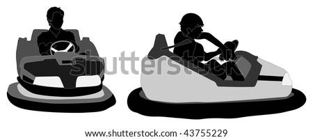 Bumper car silhouettes - stock vector