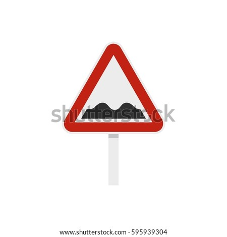 Bumpy road sign icon in flat style isolated on white background vector illustration