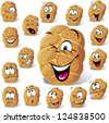 bun cartoon with many expressions isolated on white background - stock vector