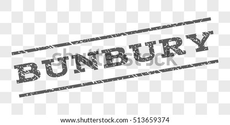 Bunbury watermark stamp. Text tag between parallel lines with grunge design style. Rubber seal stamp with dirty texture. Vector grey color ink imprint on a chess transparent background.