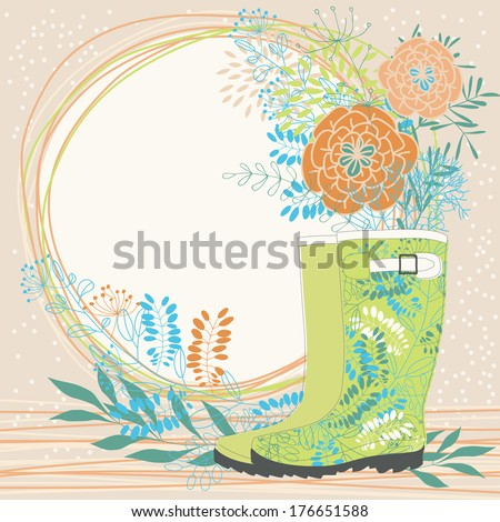 Bunch in Rubber Boots - stock vector