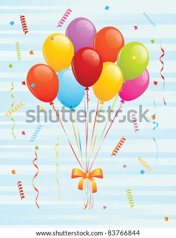 Bunch of balloons and confetti. EPS 8 CMYK with global colors vector illustration. - stock vector