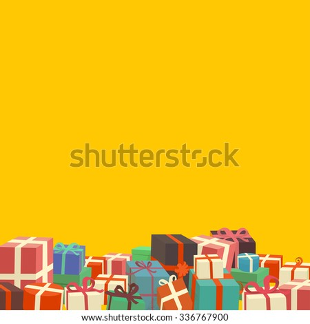 Bunch of Christmas gifts on yellow background - vintage look vector illustration - stock vector