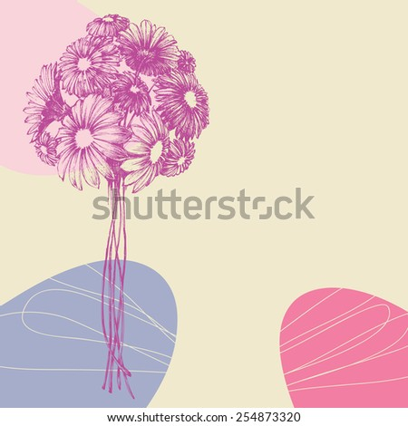 Bunch of flowers greeting card - stock vector