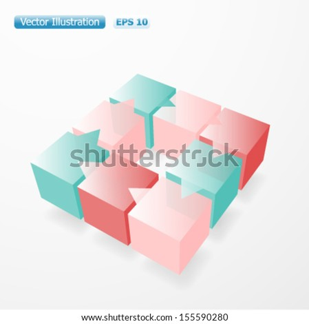 Bunch of glossy cubes. Eight options layout chart. EPS-10 - stock vector