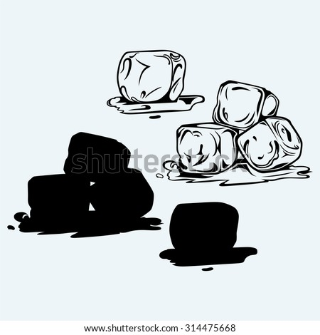 Bunch of ice cubes. Isolated on blue background - stock vector