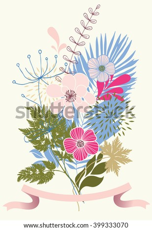 Bunch of pink flowers - stock vector