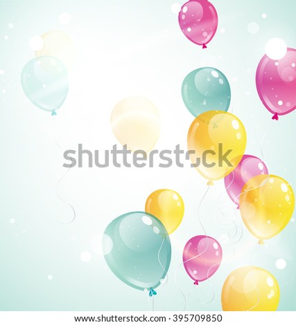 Bunch of realistic festive balloons flying on blue sky in summer. Real transparency. Balloons background.  Balloons holiday background. Vector illustration EPS 10 - stock vector
