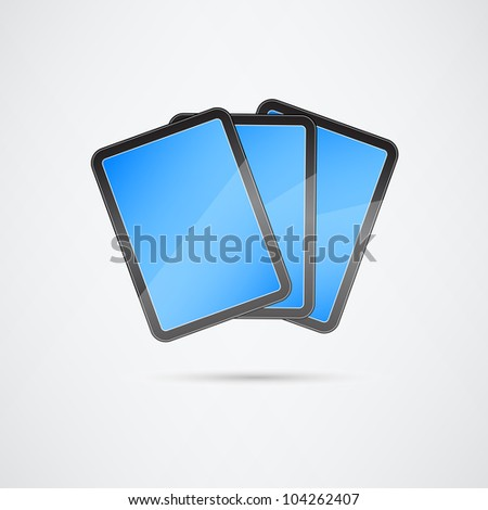 Bunch of Tablets with Blue Touch Screen. Vector Illustration