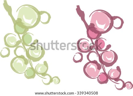 Bunch of white grapes and red grapes - stock vector