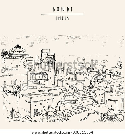 Bundi, Rajasthan, India. Above view. Artistic drawing on paper. Travel sketch. Vector isolated travel postcard, poster or a coloring book page with Bundi, India hand lettering - stock vector