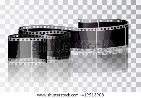 Bundle film on a transparent background. Isolated object. Cinema film. Vector illustrations. Realistic 3D film. Curved film. - stock vector