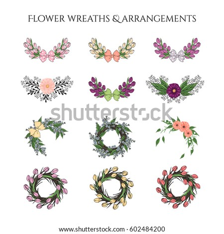 Bundle Of Hand Drawn Rustic Flower Wreaths And Arrangements Clip Art Perfect For Season