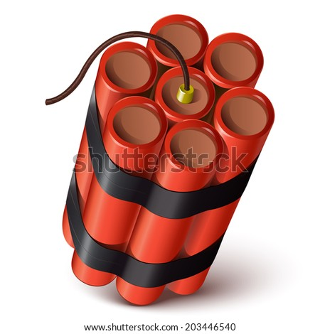 Bundle of red dynamite isolated on a white background. Vector illustration - stock vector