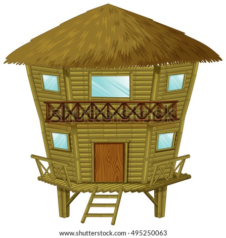 Bungalow made of wood and straws illustration