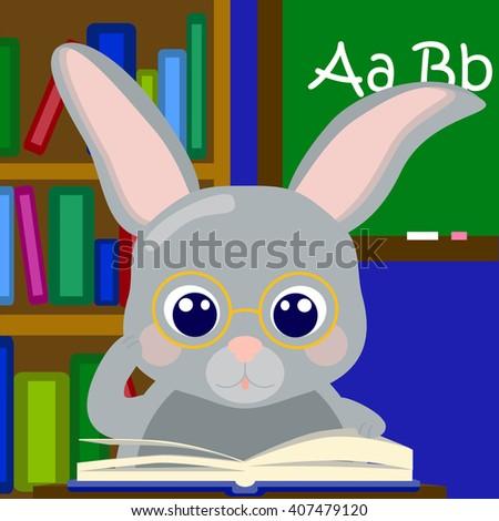 Bunny boy teaching alphabet, rabbit in school vector illustration, cute grey rabbit in glasses, study letters, school scene with nerd, nerdy rabbit reading, class room with teacher, learning alphabet - stock vector