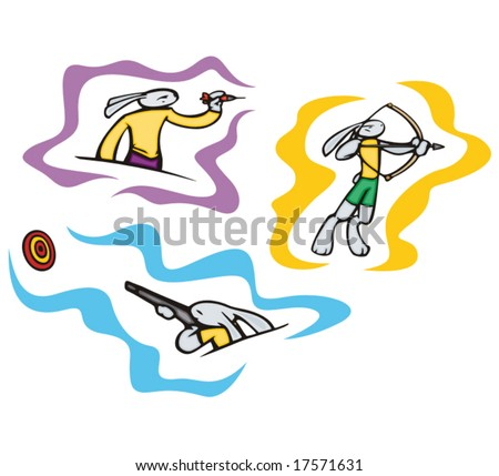 Bunny darts and shooting. Great for t-shirt designs, mascot logos and other designs. Vinyl-ready. - stock vector
