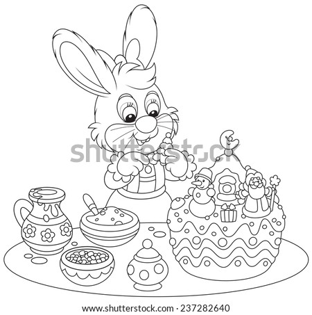 Bunny decorating a Christmas cake - stock vector