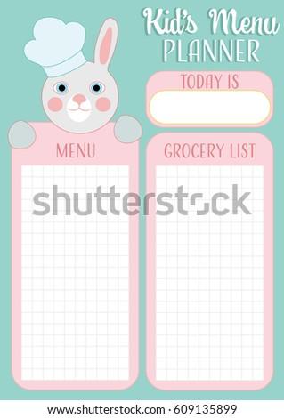 bunny easter menu template kids menu stock vector royalty free
