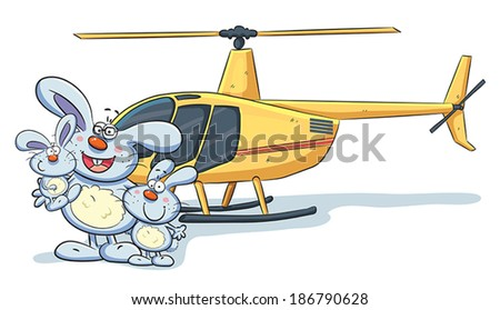 Bunny Family with Helicopter - stock vector