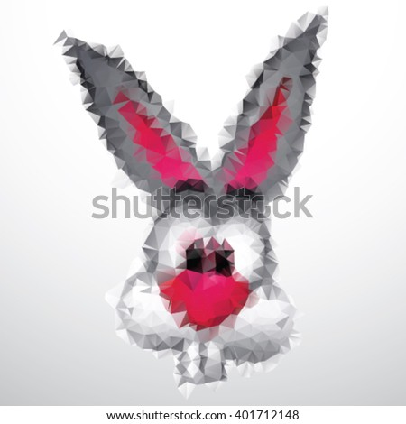 Bunny head in triangle style design on isolated background - stock vector