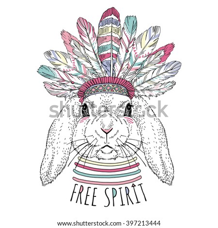 bunny in war bonnet, aztec art print, animal illustration - stock vector
