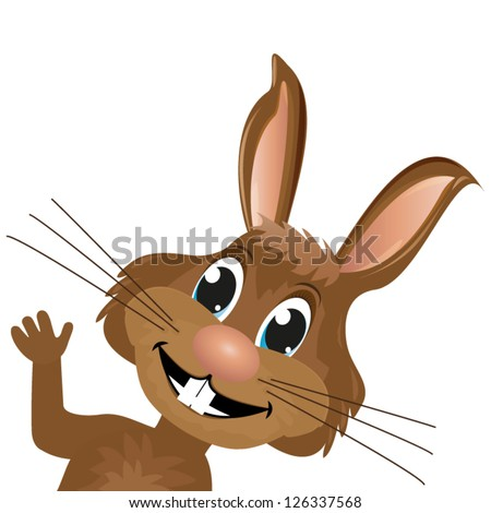 Bunny looks and waves a paw - stock vector