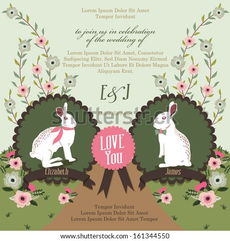 Bunny Love Party Invitation - stock vector
