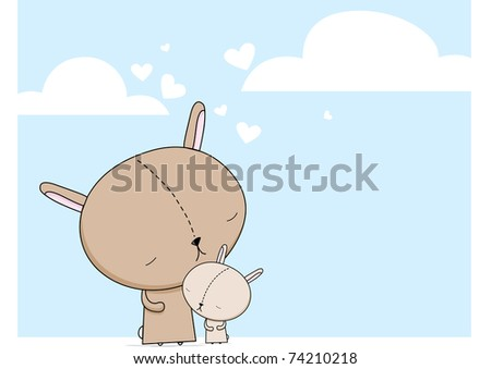 Bunny Mom and Child - stock vector