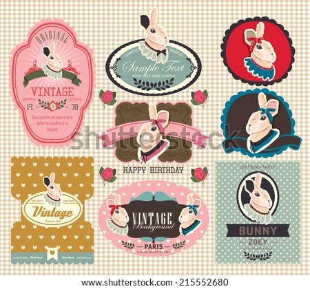 Bunny Rabbit Stickers for Birthday Party Labels - stock vector