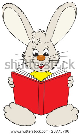 Bunny reading the red book - stock vector