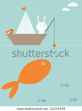 Bunny's fishing surprise - stock vector