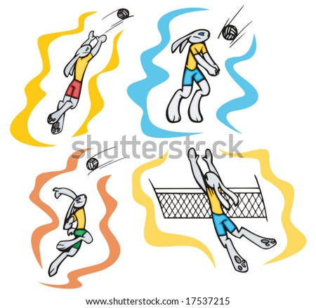 Bunny volleyball, vector. Great for t-shirt designs, mascot logos and other designs. Vinyl-ready. - stock vector