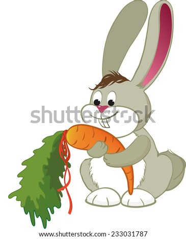 Bunny with carrot in red ribbon