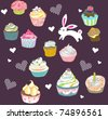 bunny with cupcake design - stock vector