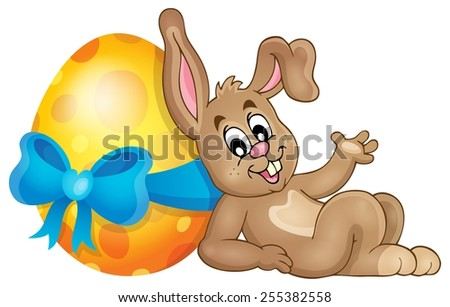 Bunny with Easter egg theme image 1 - eps10 vector illustration. - stock vector