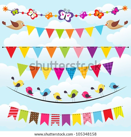 bunting and garland set on the sky with clouds - stock vector