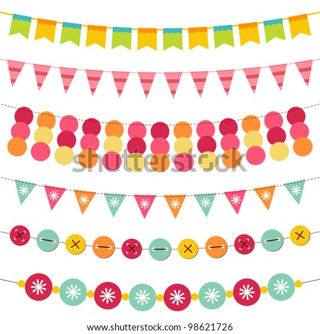 Bunting and garland vector set. Pattern brushes added to EPS file