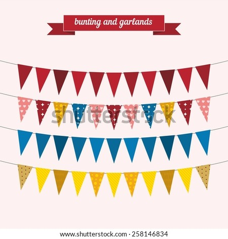 Bunting and garlands. Flat style design - vector - stock vector