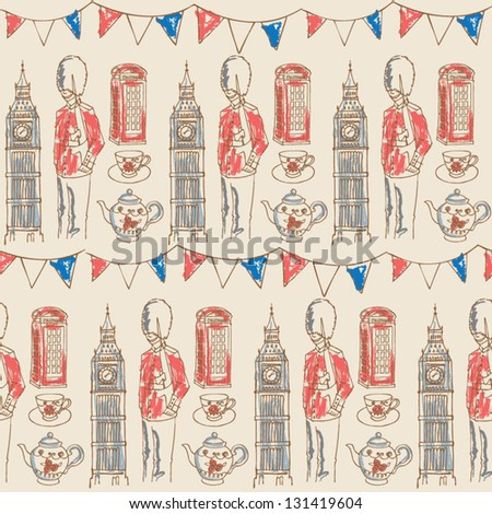 Bunting and London icons seamless pattern - stock vector