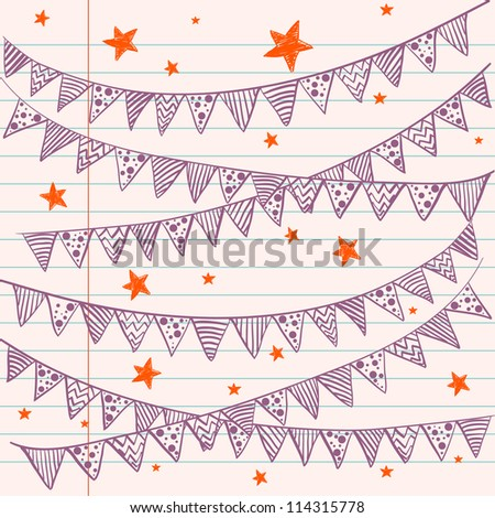 Bunting flags on a lined notebook paper. Hand drawn sketch. Notebook doodles. Vector Illustration. Background. - stock vector