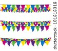 bunting flags set, top view, bottom view - stock vector