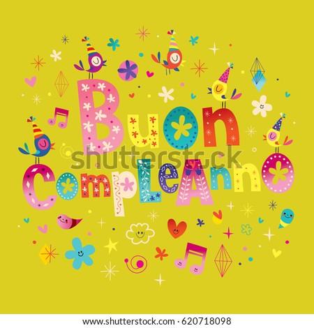Buon Compleanno Happy Birthday Italian Greeting Vector – Italian Birthday Card