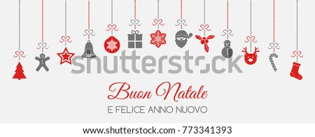 Buon Natale - Merry Christmas in Italian. Christmas decoration. Vector.
