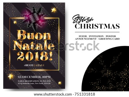 Buon Natale 2018 Merry Christmas in Italian. Stylish Black Greeting Card Design. Vector Elegant Invitation Template. Xmas Celebration. Dark Background with Shining Text and Gold Glitter Stripes.